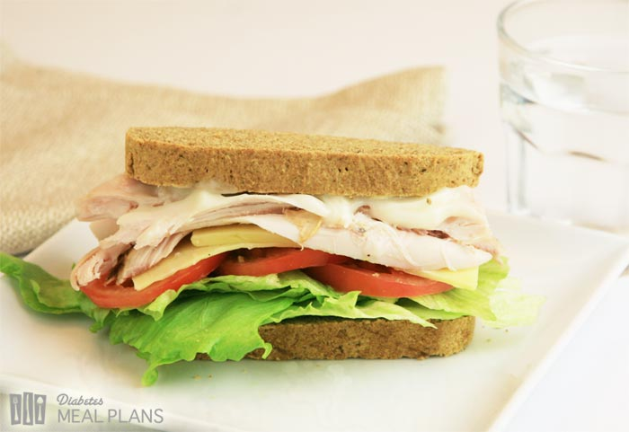 Diabetic Lunch: Chicken Mayo Tomato Cheese Sandwich